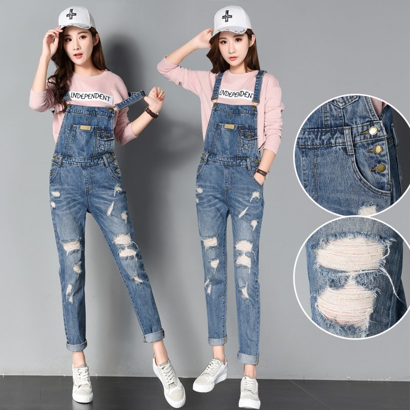 cf1035673c2 Plus Size Jeans Women Jumpsuit Denim Romper Overalls Casual Long Trousers  Vaqueros Basic Denim Pants Pencil Rompers Female -in Jumpsuits from Women s  ...