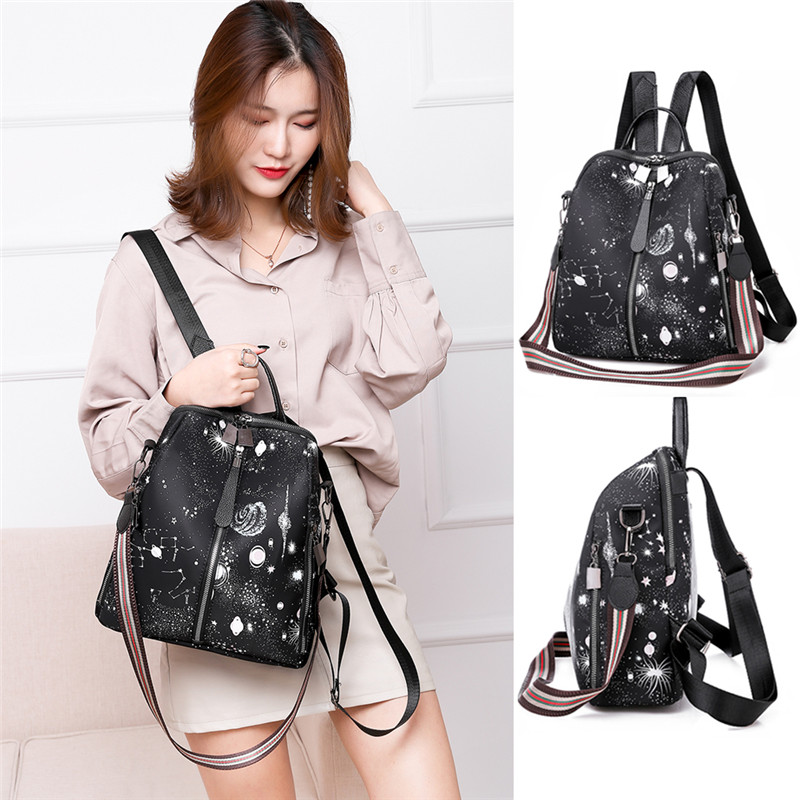 New Fashion Women Lady Constellation Galaxy Pattern Oxford Backpack Shoulder Large Zipper Campus Rucksack