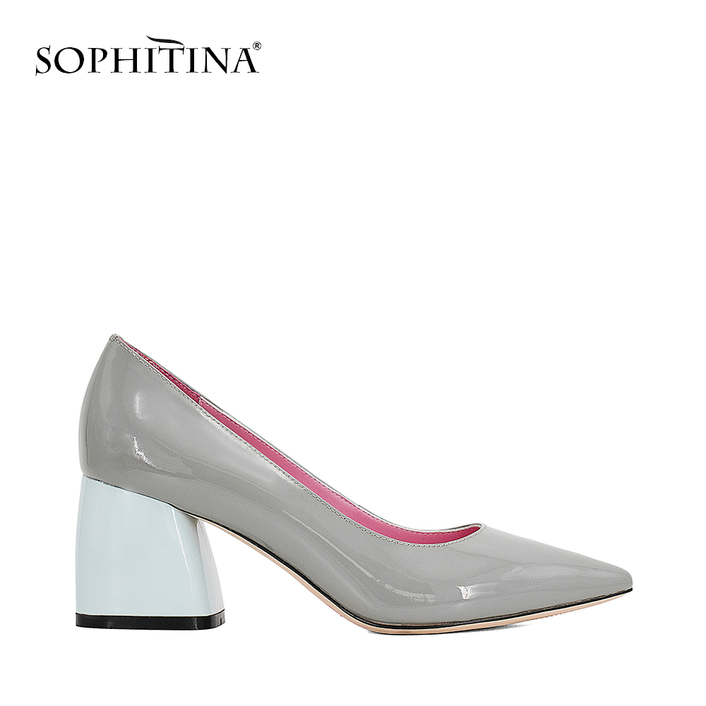 купить SOPHITINA 2018 Hot Sale Autumn Pumps Genuine Leather Pointed Toe Square Heel Shoes Shallow Elegant Office Women Solid Pumps W16 по цене 2790.62 рублей