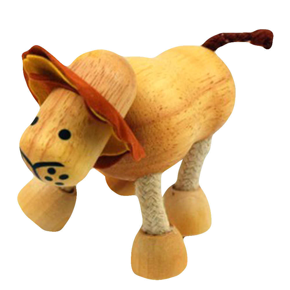 3d Wooden Cute Animals Blocks Decorative Doll Small Emulation Animal Models Baby Kids Learning Toys Animal Figurines