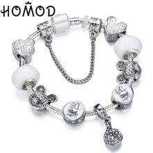 HOMOD 2019 New Fashion DIY Charm Bracelet Micky Minnie Pendant Beads Brand for Women Kids Jewelry Gifts