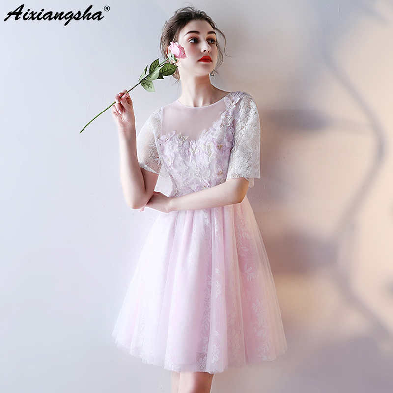 New Candy Color Purple Prom Dresses 2018 Plus Size Scoope Tulle Lace Appliques Customized Dress for graduated student