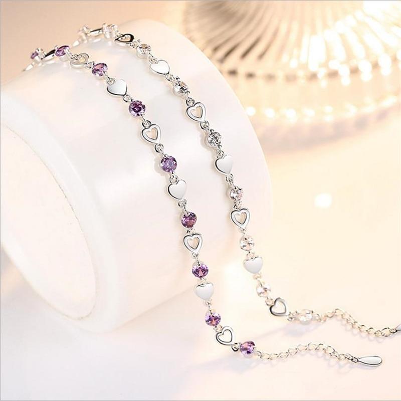 TJP Charm Crystal Purple Female Anklets Jewelry Fashion Girl 925 Silver Bracelets For Women Bride Wedding Engagement Bijou Gift
