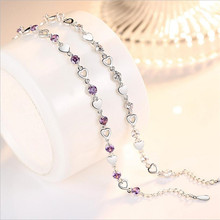 TJP Charm Crystal Purple Female Anklets Jewelry Fashion Girl 925 Silver Bracelets For Women Bride Wedding Engagement Bijou Gift