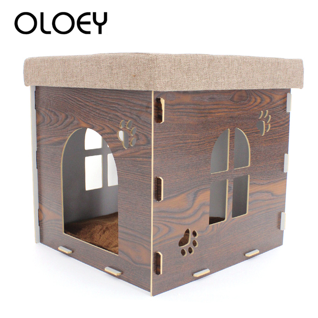 Original Multi-functional Pet Dog Kennel Stool Chair Wooden Family Sitting Cats House Dog Bed Warming Nest for Cat Dog House Bed
