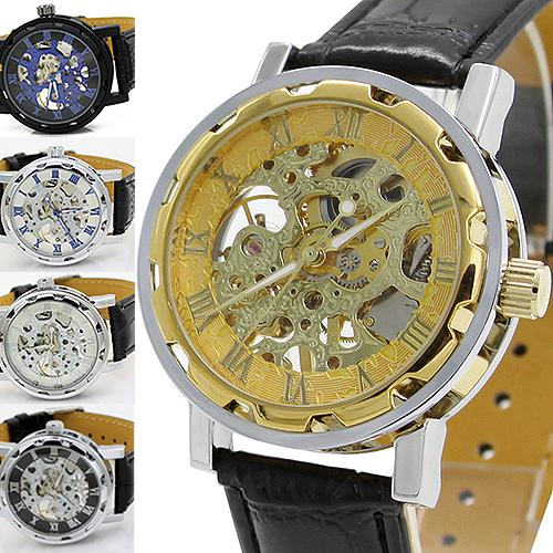 Classic Men s fashion Black Leather Skeleton Mechanical Sports Army Wrist Watches 02HM 3AG8 C2K5W