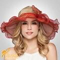 2016 Новая Мода Широкими Полями Кристалл Шелковый Церковь Hat Леди Свадебные Шляпы Женщины Церковь Партия Гонки Шляпа B-3198
