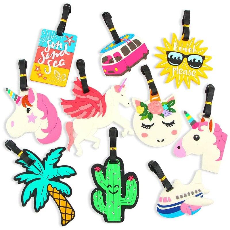 1 Pcs Gepäck Tag Silikon Cartoon Nette Früchte Lebensmittel Strand Stil Koffer Tags Name Adresse Halter Gepäck Internat Tags Label