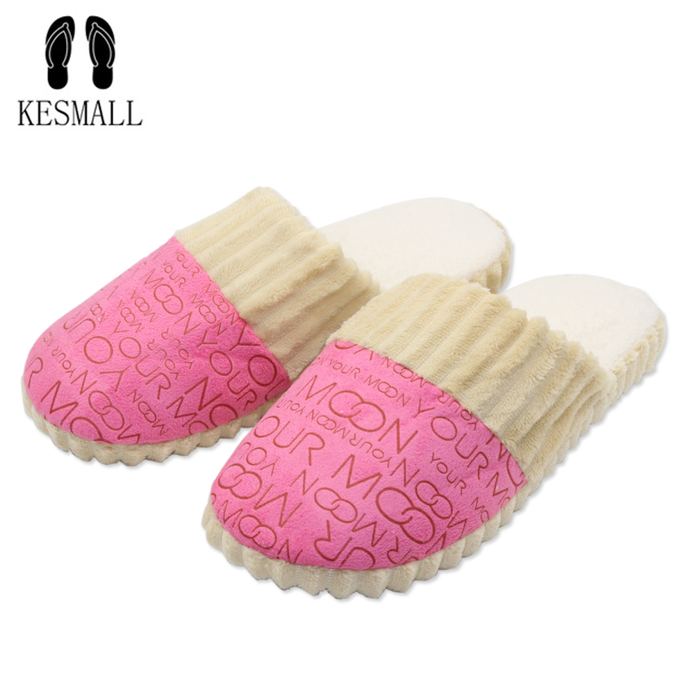 2018 Autumn Winter Warm Non-Slip Slipper Men Women Cotton-padded Lovers Home Slippers Rubber Sole Sewing Indoor Soft Plush Shoes