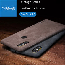 X-Level Cover Case For Xiaomi Mi MIX 2S Retro Vintage X Level Matte Frosted Leather Back Protective Shell MIX2S