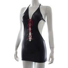 Hot sexy lingerie clubwear sexy mochila rocío hip vestido de cuero de patente de Cuero sexy ropa de la etapa uniformes