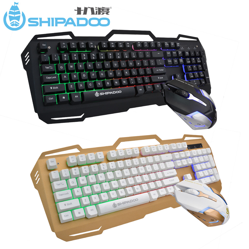 SHIPADOO D960 Ergonomic Gaming Keyboard Mouse Combo Set USB Wired Rainbow LED Backlight Multimedia Keyboard 104 Keys for Desktop