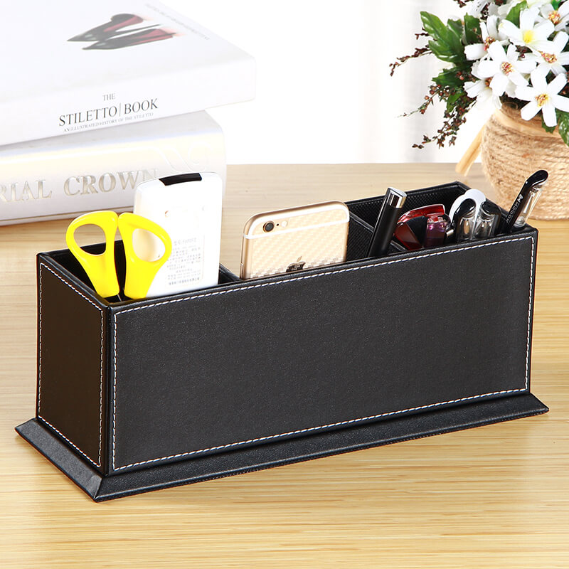 Pu leather desk stationery organizer storage box penpencil pu leather desk stationery organizer storage box penpencil business cards phoneremote control office supplies desk organizer in home office storage from reheart Choice Image