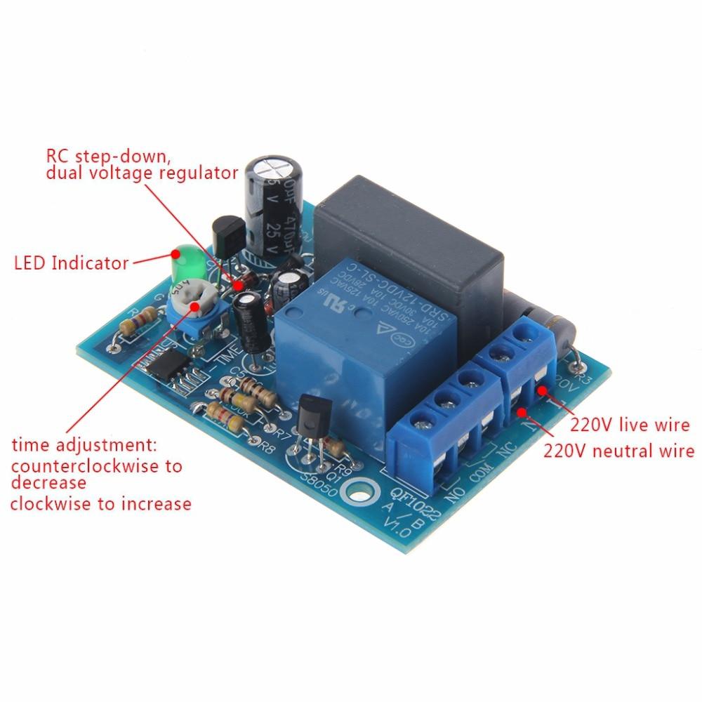 "AC 220 v מתכוונן טיימר עיכוב מתג להפעיל/כיבוי זמן ממסר מודול זמן ממסרים 5.8x4.3 ס""מ"