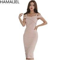 HAMALIEL Korean Sheath Women Party Dress 2018 Summer Pink Spaghetti Strap Pencil Dress Fashion V Neck Bodycon Slim Work Dress