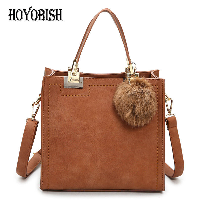 HOYOBISH Vintage Style Frosted Leather Female Hand Bag Vintage Women Shoulder Bags With Pompon Lady Leather Messenger Bags OH172