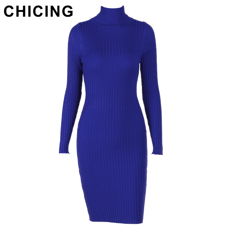 CHICING High Street Women Knitted Solid Color Midi Dress 2017 Turtleneck  Long Sleeve Bodycon Sexy Warm Dress vestidos A1708050-in Dresses from  Women s ... 4f96c9056335