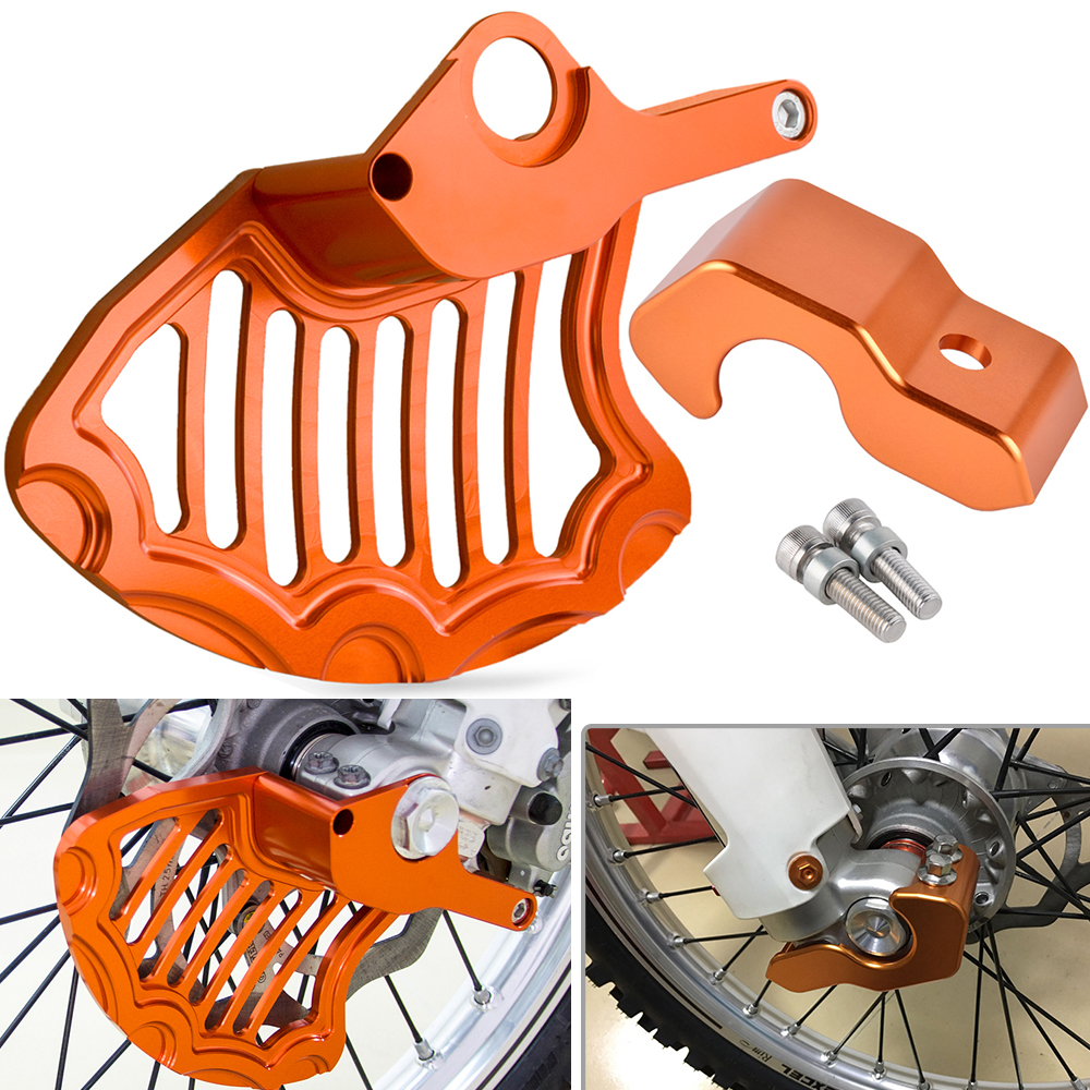 Front Brake Disc Guard Right Fork Leg Protector For KTM 125 150 200 250 300 350 450 525 530 SX SXF EXC EXCF XC XCW XCFW EXCR MXC right left sides wp fork leg shoe guard protector cover for ktm 125 200 250 300 350 400 450 500 exc sx sxf xc xcf excf excw xcfw