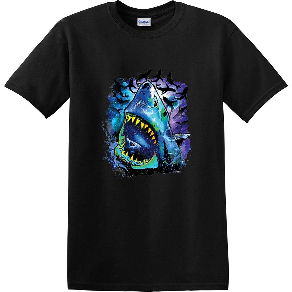 Shop Shirts Neon Colors Shark Adults T-Shirt Cosmo Wild Fish Jaws Tee For Men Short Men Crew Neck Summer Tee Shirt