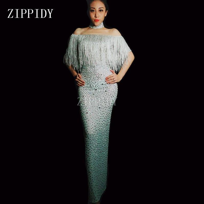 D'anniversaire Danse Complet Sexy Gland Whitd Chanteuse Mode Scintillant Robe Strass De Tenue Femmes Fête Blanc Soirée Spectacle XNn80OwPk