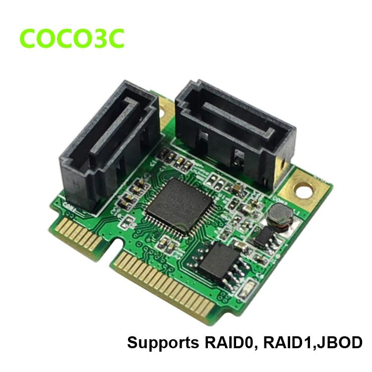 Pcie + Half-size Full-size + Raid0 Pci-e para 2 Mini Portas Sata Gbps Raid Card Dual 3.0 Adaptador Raid1 Span Iii 6
