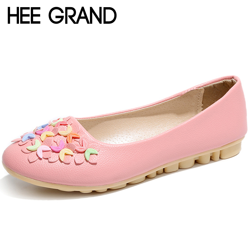 HEE GRAND Flower Shallow Spring Women Loafers Soft Slip On Round Toe Flats For 2018 Summer Creepers Shoes Woman XWD6743 2017 summer spring women ballet flats round toe slip on shoes woman flower bowknot loafers vintage zapatos mujer canvas