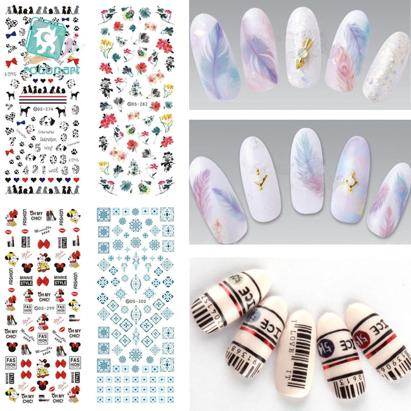 ds238 diy designer beauty water transfer nails art sticker pineapple rabbit harajuku nail wraps foil sticker taty stickers Rocooart DS271-300 Water Transfer Stickers Beauty Harajuku Blue Totem Decoration Nail Wraps Sticker Fingernails Decals for Nails