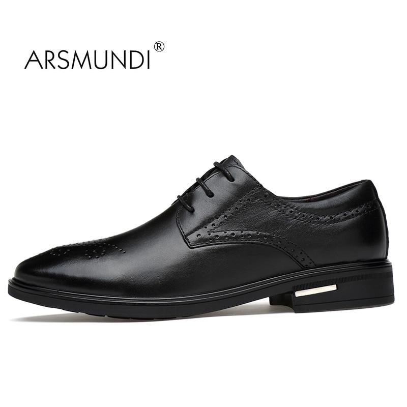 ARSMUNDI Men Dress Shoes Genuine Leather Black Fashion Business Dress Shoes 2017 Lace Up Slip On Men Formal Dress SBLT-v9922