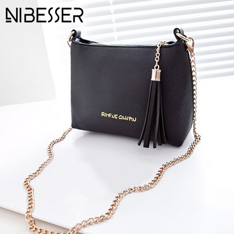 NIBESSER Small Bags Women Leather Shoulder Bags Tassel Chains Flap Fashion Crossbody Bag for Women Female Famous Brand Handbags aim brand small shoulder bags for women luxury crossbody bags female solid flap bag girl mini black messenger bag tassel w022