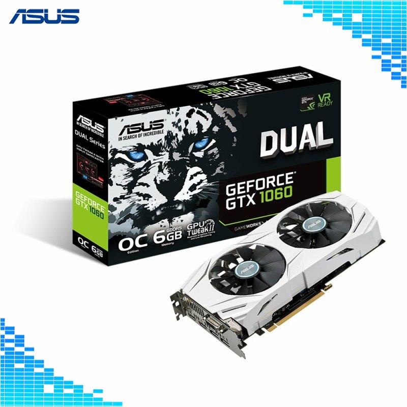 Asus GeForce DUAL-GTX1060-O6G 6 GB Duel-Ventilateur VR Prêt Double HDMI DP GDDR5 192 bits PCI Express 3.0 16X Gaming Cartes Graphiques