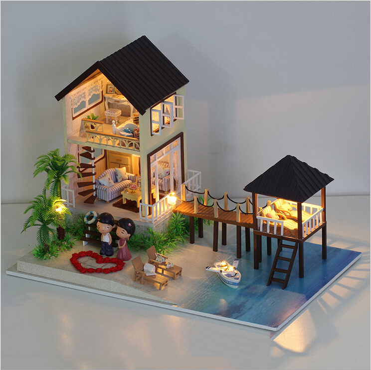 Aliexpress Com Buy 3d Model Doll House Miniature Diy Dollhouse Villa Kit Wood Doll House The Maldives Beach House With Led Light Music Gift Fpp From
