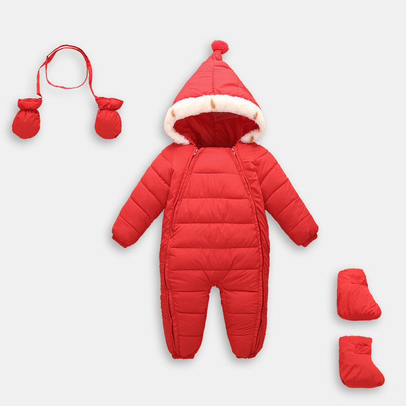 Infant Baby Winter Rompers Windproof Newborn Hooded Overalls Baby Boys Girls Warm Jumpsuits With Gloves CL1002 baby rompers winter newborn boys girls clothes toddler christmas warm thick costume roupa infant jumpsuits hooded outwear red