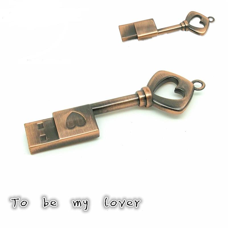Metal Heart-shaped USB Flash Drive U Disk Copper Love Key 4GB 8GB 16GB 32GB Pen Drive Bronze Pendrive Memory Stick Flash Card