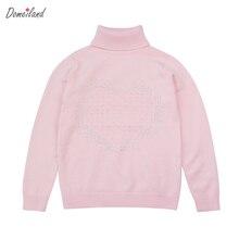 2017 mode printemps marque domeiland enfants vêtements enfants filles Diamants coeur coton à manches longues pull chandail vêtements