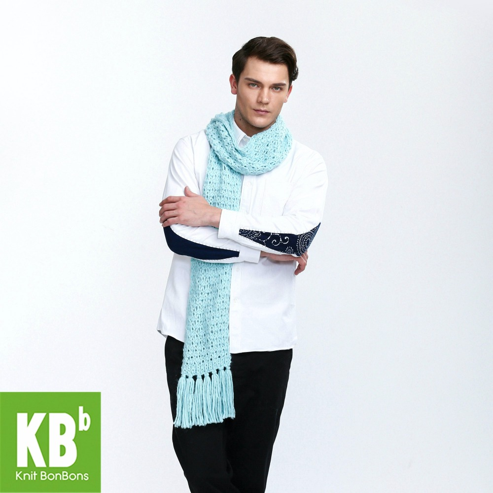 2018 KBB Spring Stylish Pure Lake Blue Cute Lace Style Warm Winter Yarn Knitted Men Neck Cover   Scarf     Wrap     Scarves