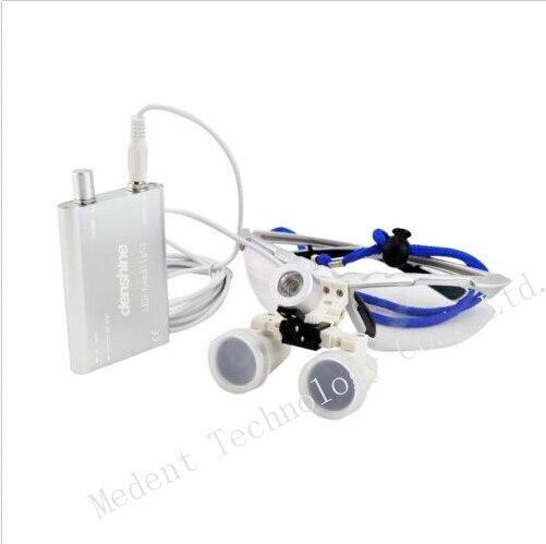 EU/US Plug Binocular dental Loupe 3.5X420mm Dental magnifier Optical Glass + Portable LED Head Light Lamp Color Silver  цены