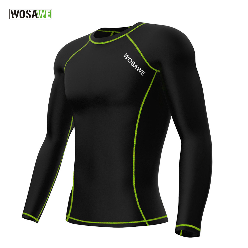 WOSAWE Mens Long Sleeve Undershirt base layer Sweatshirt Cycling Bicycle Bike Running Jersey Breathable Skin Tight wosawe 2017 winter men women thermal cycling base layer compression mountain bike warmer underwear long sleeve cycling jersey page 1