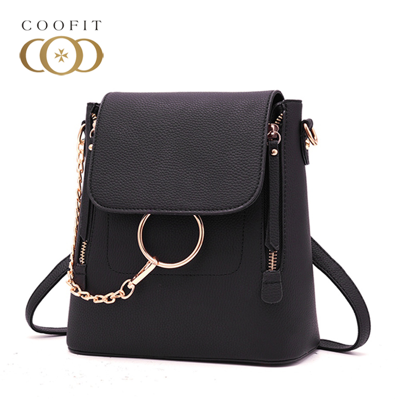 Coofit Stylish Chains Mini Backpack For Women Unique Ring PU Leather Travel Bags Girls Female Embossed