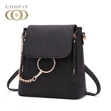 Coofit стильный цепи мини рюкзак для женщин уникальные кольца ПУ кожаные сумки для путешествий для девочек Женский тиснением сумка откидной крышкой