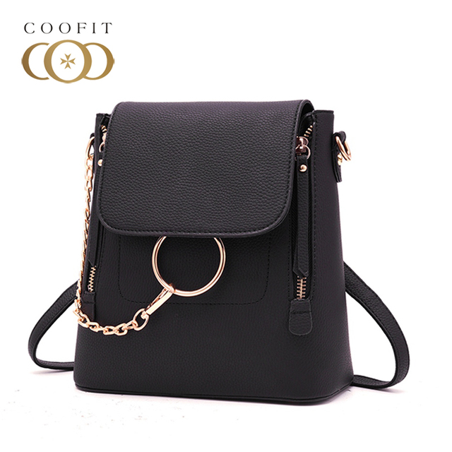 Coofit Stylish Chains Mini Backpack For Women Unique Ring PU Leather Travel  Bags Girls Female Embossed Shoulder Bag Flap Cover 3487963b79fb0