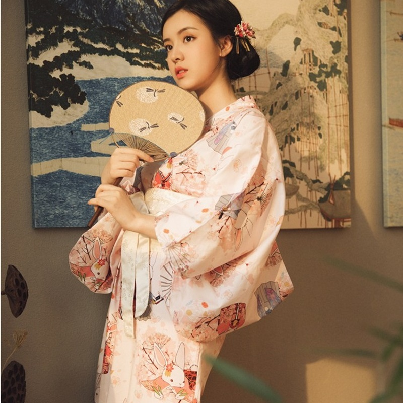 Traditional Japanese Kimonos Costume Geisha Cosplay Kawaii Japanese Kimono Yukata Women Clothes Female Obi Kimono Cosplay KK2766
