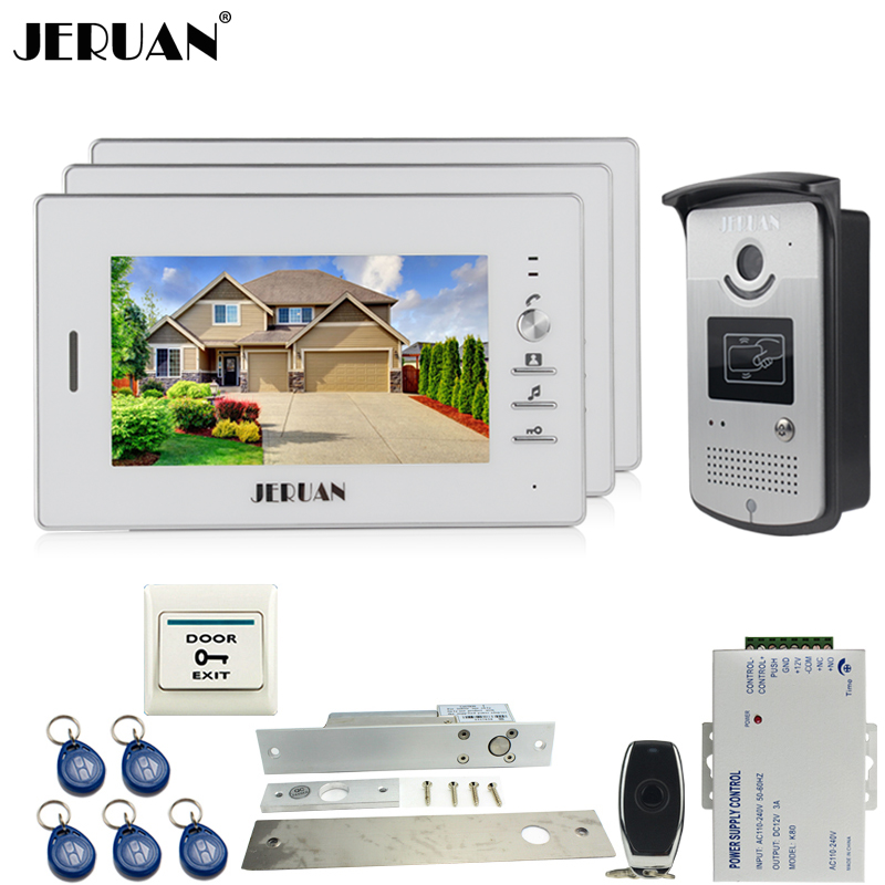 JERUAN 7 inch LCD color screen video door phone intercom system kit 3 house 1 outdoor waterproof 700TVL RFID Access IR Camera aputure vs 2 finehd kit lcd screen 7 inch v screen field video monitor with battery
