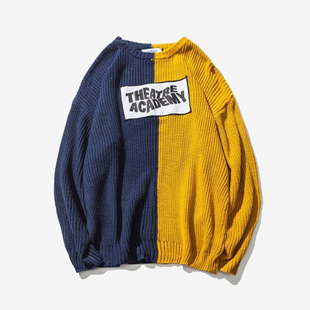 Newest Fashion Patchwork Knitted Sweaters Mens Hip Hop Casual Pullover Loose Long Sleeve Sweaters drop shipping ABZ157
