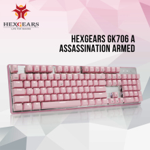 HEXGEARS GK706 Kailh MX Blue Switch Mechanical Gaming Keyboard Water Resistance Pink 104 Key Mechanical Keyboard mechanical keyboard sound damper 5 kit rubber mute o ring big and small key cap puller mx axis puller keyboard cleaning brush