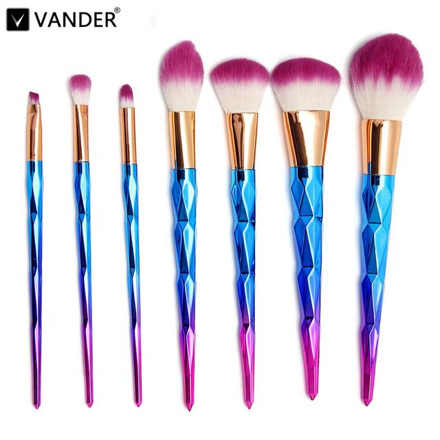 Vander Pro 7 Unids Rainbow Color Espiral Mango Maquillaje Cepillos Fundación Blush Powder Cepillo Facial Púrpura Pelo Cosméticos maquiagem