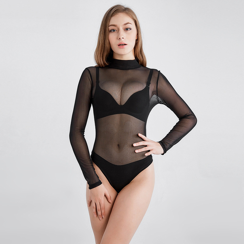 Sheer Bodysuit Transparent Bodysuit Women Turtleneck Sexy Long Sleeve Black White Mesh Body Feminino Para Mulheres Body Mujer
