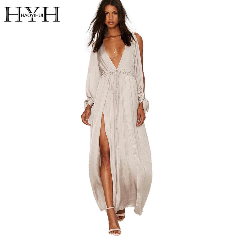 هية haoyihui النساء الصلبة المشمش الباردة الكتف حزب vestidos الصيف كم طويل يغرق الرقبة سبليت أنيقة مثير اللباس