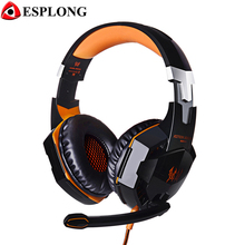 EACH G2000 Gamer Headphone USB+3.5mm Stereo Gaming Headset with Microphone Super Bass LED Headband Earphone for Laptop PC Gamer