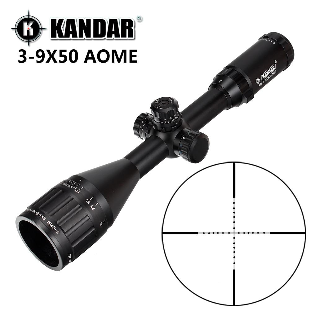 KANDAR 3-9x50 AOE Mil-dot Reticle RifleScope Locking Resetting Full Size Hunting Rifle Scope Tactical Optical Sight
