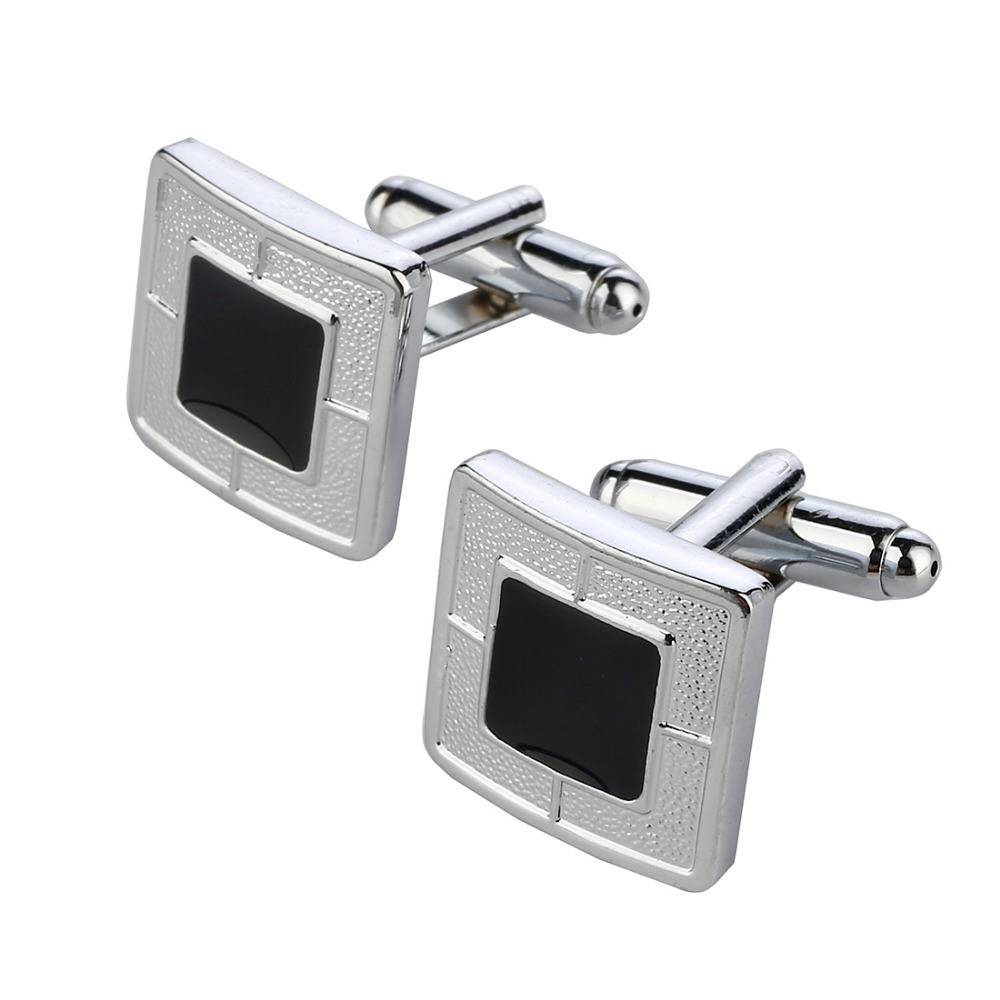 2018 Men Cuff Links Black Gem Enamel Silver Tone Square Shirt Cuff Cuff links for Wedding Best Man Usher New